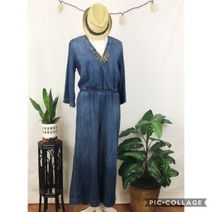 Anthro. Cloth & Stone chambray denim jumpsuit S